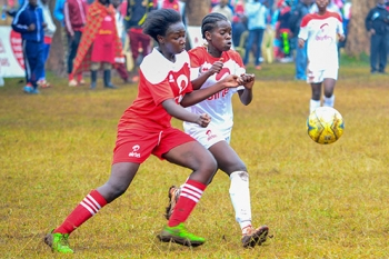 Sherline Adhiambo of Utithi Girls during girls' soccer