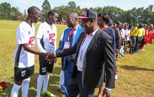 Almasi Bottlers, Coca-Cola General Manager, Mr Philip Gakunju, and Mr Peter Orero, KSSSA Chairman meet players at the Opening of Copa Coca-Cola 2018